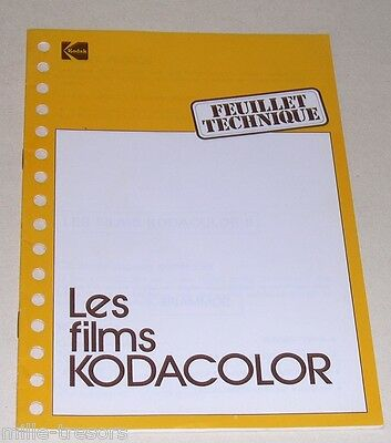 Feuillet Technique 12 pages KODAK : Les Films KODACOLOR