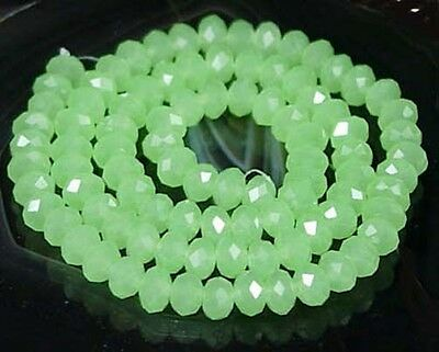 """6x4mm Green Chalcedony Glass Quartz Faceted Rondelle Bead 16"""""""