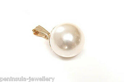 9ct Gold 10mm Pearl Pendant No Chain Gift Boxed Made in UK