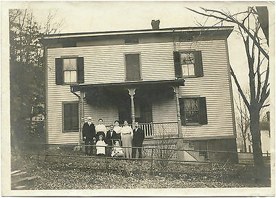 Family Posing For The Camera In Front Of House & Original Vintage Photo
