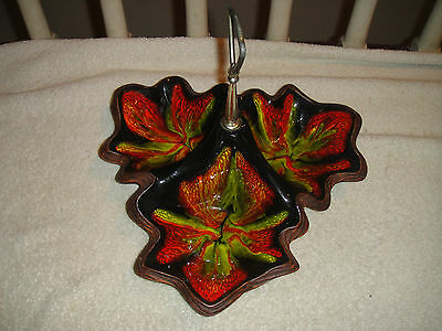 Vintage California Pottery Psychedelic Candy Dish-Leaf Design-Handle-1960's