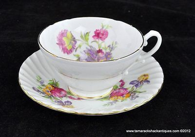 Stanley Fine Bone China Tea Cup & Saucer Wildflowers Gilded Trim England Marked
