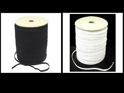 Elastic Narrow Black or White 7mm 8mm and 12mm Per 5m