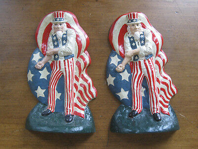 set of two HEAVY CAST IRON UNCLE SAM BOOKEND DOORSTOP vintage America flag USA