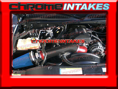 99 00 01 02 03-07 CHEVY//GMC//CADILLAC TRUCKS//SUVS COLD AIR INTAKE KIT Black Red