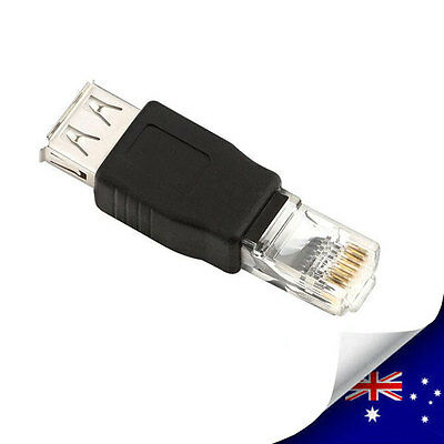 1 x Female USB to Male Ethernet RJ45 Connector Adaptor - NEW (N005)