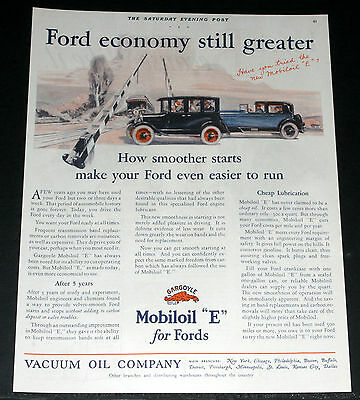 "1927 Old Magazine Print Ad, Vacuum Mobiloil ""e"" For Fords, Trolley Crossing Art!"