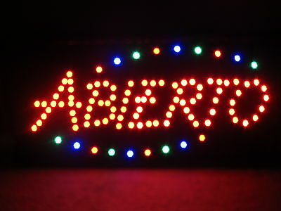 "Mexican Bright ABIERTO LED Open Sign Animated 19x10"" BBQ TECO GRILL Burrito MASA"