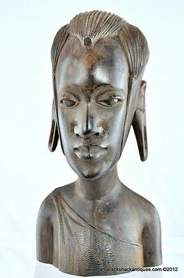 African Folk Art Bust Statuette Very Long Faced Man w/Stretched Lobes & Clothing