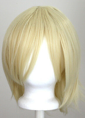 12'' Short Flare Flaxen Blonde Cosplay Wig Synthetic NEW