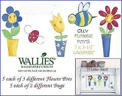 WALLIES Silly Flower Pots Ladybug Bees 19 New Cutouts