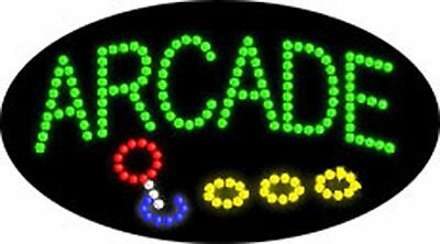 """OPEN LED SIGN """"ARCADE"""" OPEN GAMES 21""""x12"""" Prizes Business Animated bright Flash"""