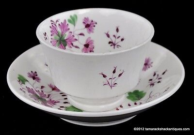 Antique 19thC English Porcelain Tea Bowl & Saucer Purple Flower Violet Sprigs