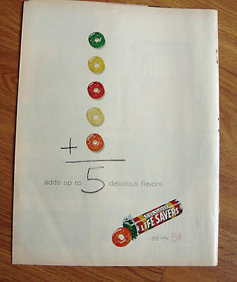 1961 Life Savers Candy Ad  Adds up to 5 Delicious Flavors