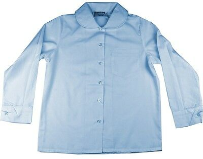 Girls School Shirt Sky Blue Size 10 Peter Pan Rounded Collar Long Sleeve New!