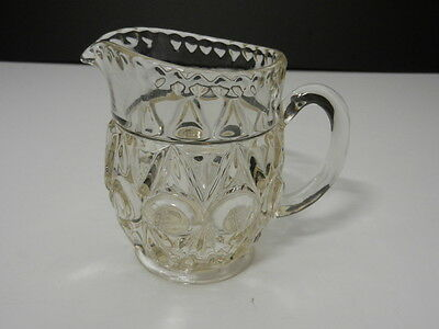 "EAPG Glass Milk Pitcher Spear w Large Circle Design Clear Crystal 4 3/4"" T"