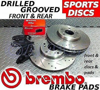 BMW 3 Series E46 325 328 Drilled & Grooved FRONT & REAR Brake Discs BREMBO Pads