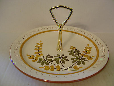 STANGL GOLDEN BLOSSOM TID BIT SNACK PLATE WITH HANDLE IN MIDDLE