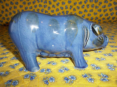 Artisan Crafted Hand Built Pottery Pig Figurine w/Blue Glaze-Excellent Condition