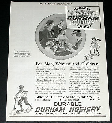 1919 Old Magazine Print Ad, Durham Hosiery, For Men, Women, And Childern, Art!