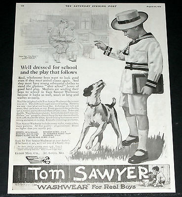 1919 Old Magazine Print Ad, Tom Sawyer Washwear Clothes For Real Boys, Dog Art!