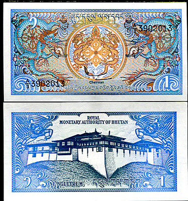 Bhutan 1 Ngultrum 1985 - 1992 P 12 Sign 1 Unc