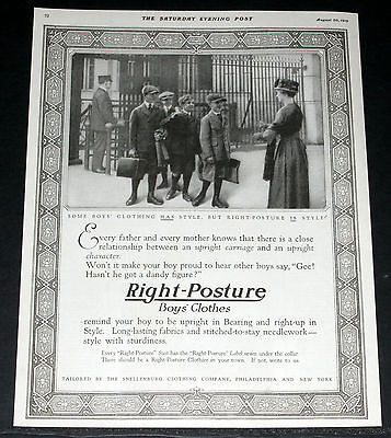 1919 Old Magazine Print Ad, Right-Posture Boys Clothes, For Upright Character!