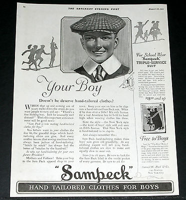 1919 Old Magazine Print Ad, Sampeck Hand Tailored Boys Clothes, For A Fine Fit!