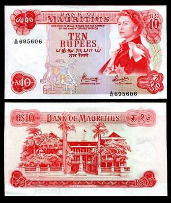 Mauritius 10 Rupees Nd 1967 P 31 C Unc- See Scan