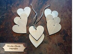 x10 Wooden Heart Shape Birch Blank Embellishments,craft tags 65 x 65mm inc twine