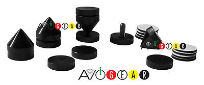 Black Audio Video Isolation Cones/Solid Construction Spike Feet  Sets of 4 NEW