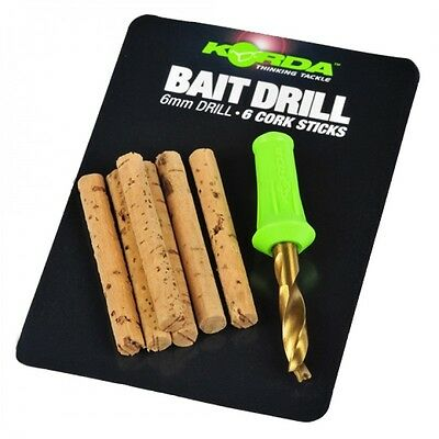 Korda NEW Carp Fishing Bait Drill Tool & Spare Cork Sticks *6mm & 8mm Available*