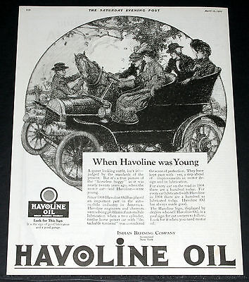 1922 Old Magazine Print Ad, Indian, When Havoline Oil Was Young, Old Car Art!