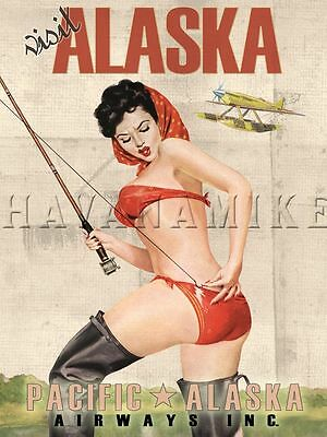 ALASKA Travel Print Vintage Pinup Art FISHING POLE Airplane Flying Pin Up Poster