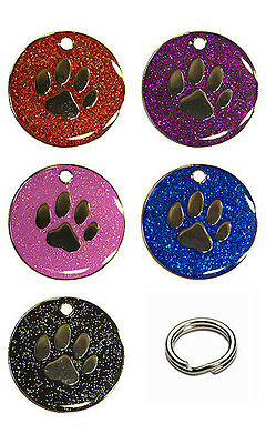 Personalised Pet Glitter Dog Paw 25mm Identity Disc ID Tag Engraved FREE