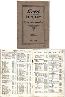 Ford Model T 1909-1924 Original UK Spare Parts Price List unillustrated