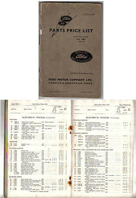 Ford V8 30hp Model 78 3622cc 1937-38 Spare Parts Price List unillustrated