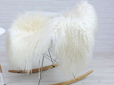 "GENUINE WHITE & CREAM  ""MONGOLIAN"" curly hairs ICELANDIC single sheepskin rug 99"