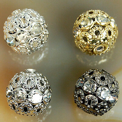 12 10 8MM Top Quality Crystal Pave Rond Spacer Steady Metal Beads 10pcs 40pcs