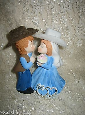 Wedding Western Party  ~Kissing Cowboy & Cowgirl~ Cake Topper Custom Paint