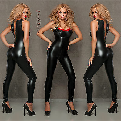 CATSUIT Clubwear Party GOGO OVERALL SCHWARZ WETLOOK Gr. S 36 M 38