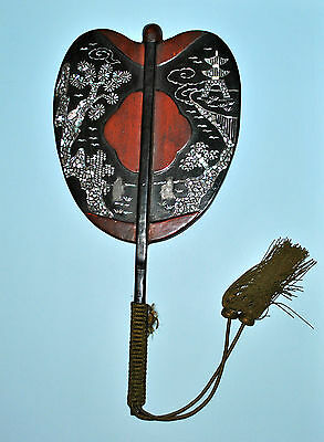 Antique Japanese Face Screen Fan Hand Pien Mien Lacquer Mother Of Pearl Mop