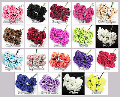 6 Colourfast Large Foam Roses  Ideal Weddings ~ Party ~ Celebrations ~Bouquets