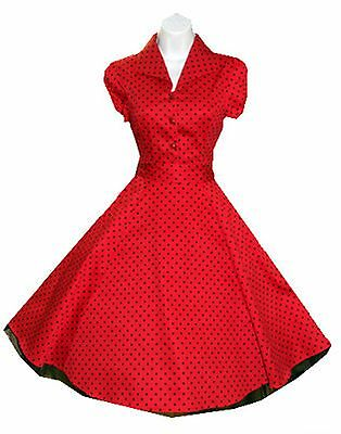 Lucy DRESS 50'S RED & BLACK POLKA DOT Swing 40s 50s Housewife pinup Vintage 6839
