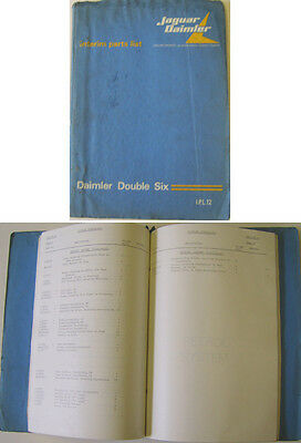 Daimler Double Six original Interim Parts List 1972 Pub. No. IPL 12