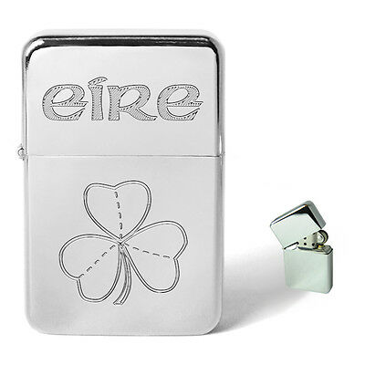 Eire Four Leaf Clover Engraved Petrol Lighter Personalised Present Birthday Gift