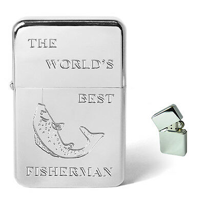 Worlds Best Fisherman Personalised Engraved Petrol Lighter Birthday Present Gift