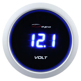DEPO racing 52 mm Smoked Digital Blue LED Volt Gauge