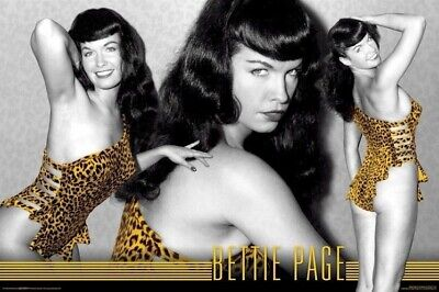 BETTIE PAGE ~ TRIPLE LEOPARD 24x36 PINUP POSTER Lingerie Betty NEW/ROLLED!