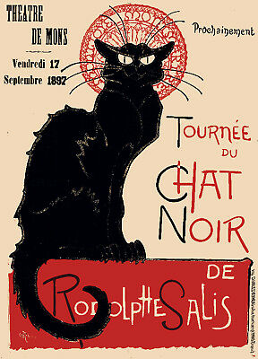 Vintage French POSTER.Black Cat.Chat Noir.Art Decor.House Interior Designer.883